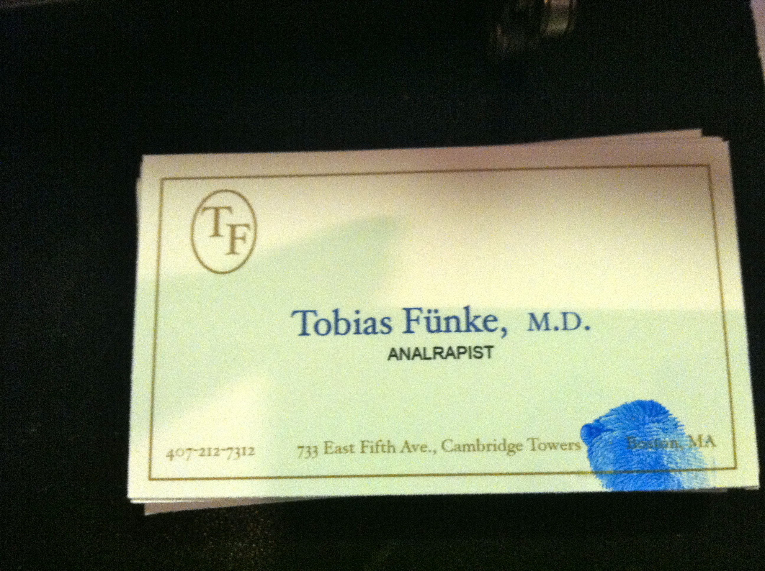 Tobias funke analrapist card apgd for Tobias business card